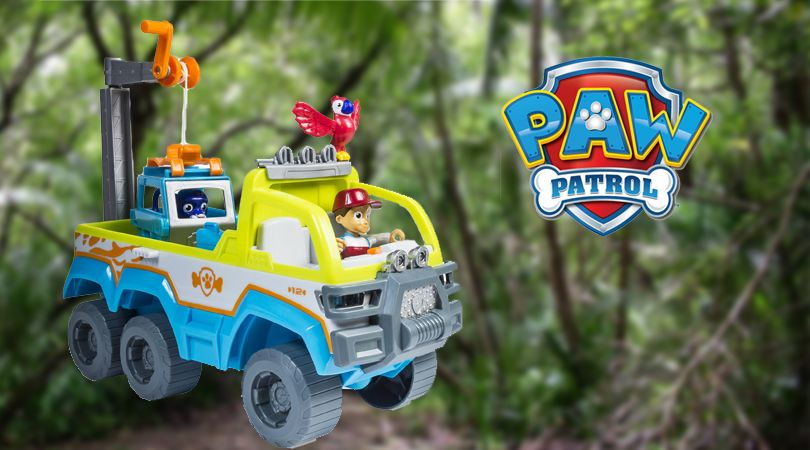 The Paw Patrol team is leaving Adventure Bay for rescue missions in the jungle with the new Paw Patrol Jungle Rescue Paw Terrain Vehicle. - See more at ttpm.com!