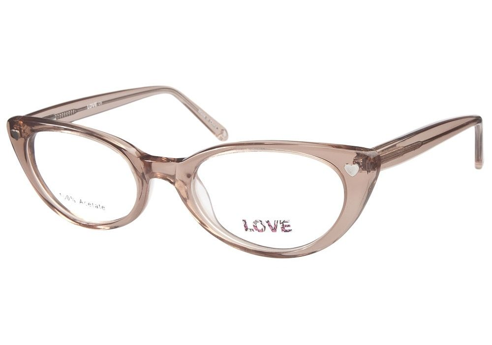 b371c2224c These retro style cat-eye eyeglasses come in translucent light brown acetate.  The sides of frames feature a metal heart decal and also have from   ...