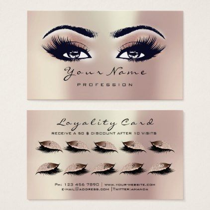 Loyalty Card 10 Makeup Lashes Extension Rose Gold Zazzle