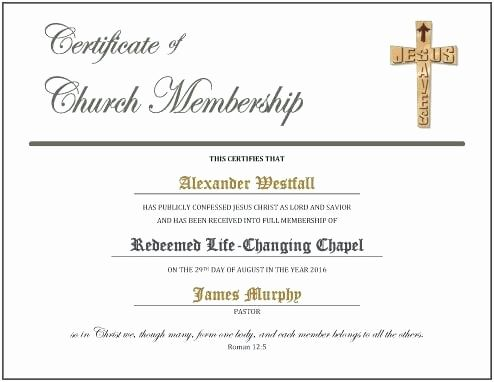 Proof Of Church Membership Letter New Service Certificate