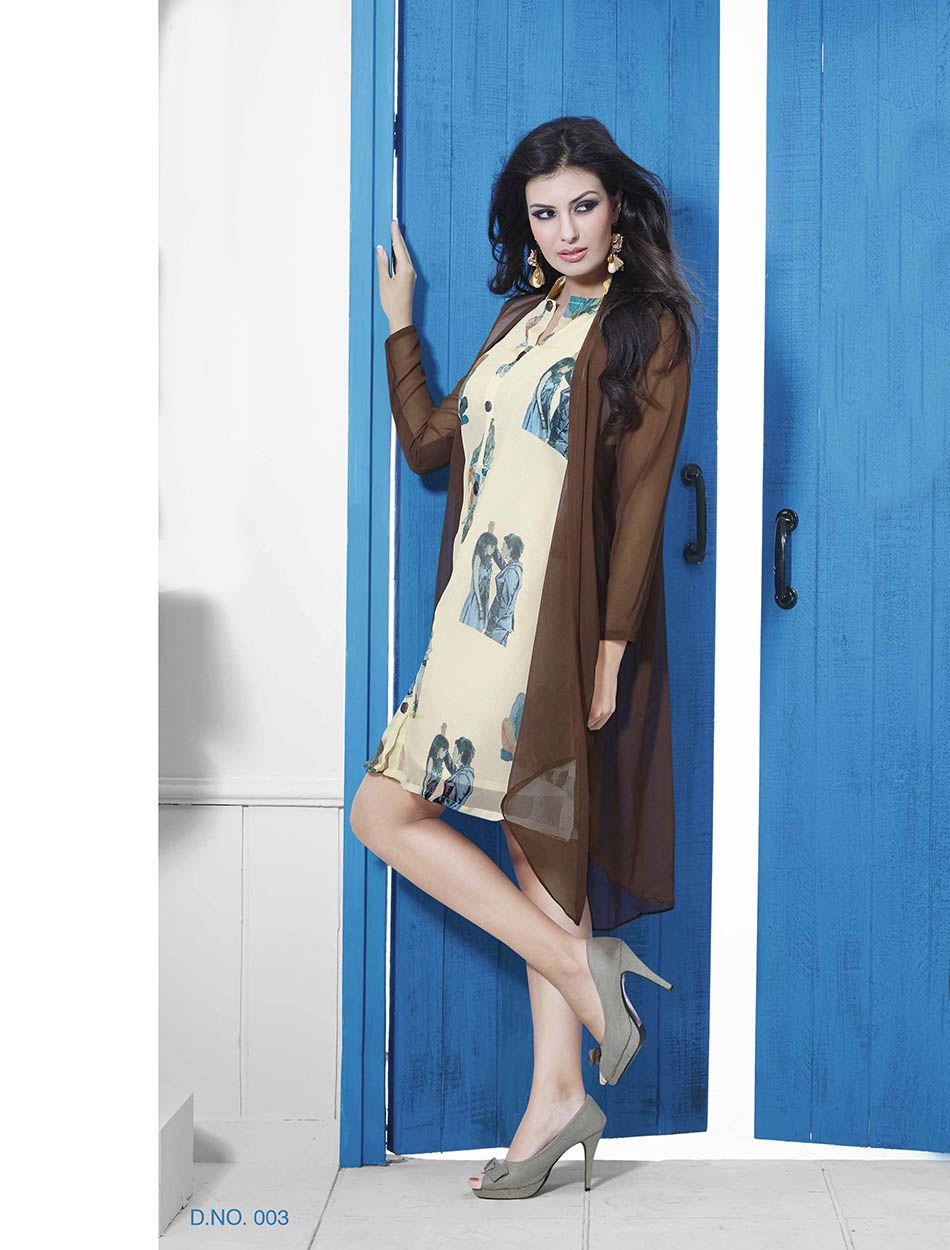 THANKAR BROWN & WHITE DESIGNER STITCHED KURTI