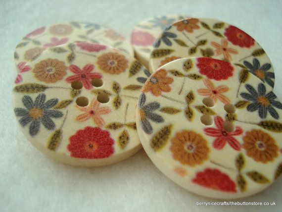 30mm Cream Wood Buttons with Cut Flower Print by berrynicecrafts