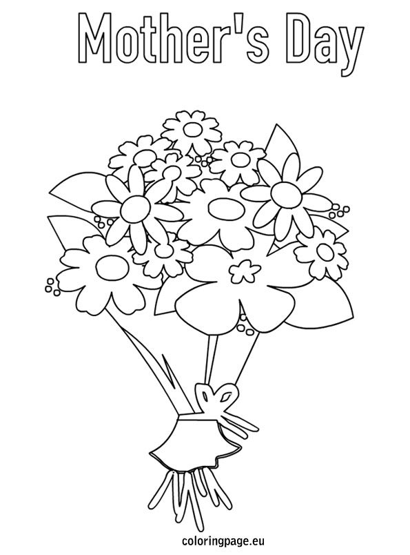 Flower Mothers Day Bouquet Flowers Coloring Page