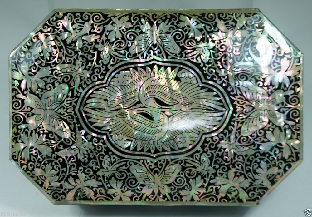 VINTAGE LACQUER ABALONE SHELL INLAY JEWELRY,RING BOX W