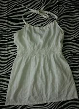 ~ S O Wear It Declare It Girls White Halter Babydoll Eyelet Top Size S ~ EUC