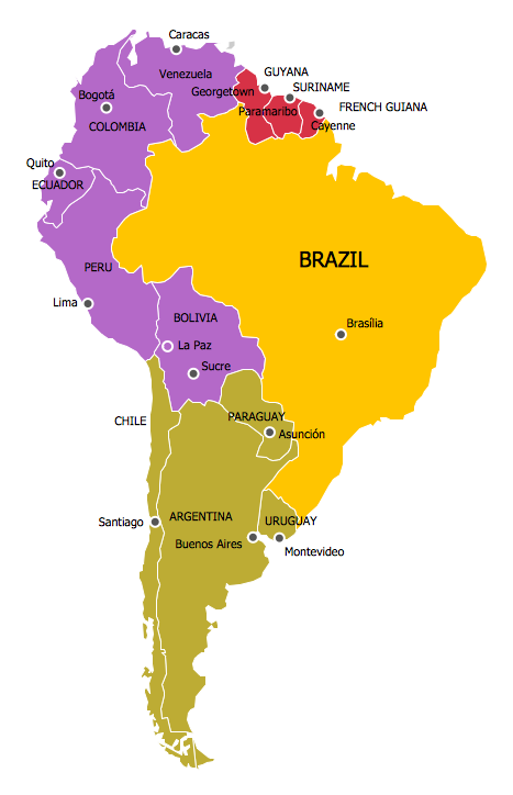 South American Color Coded Regions | North america map ...
