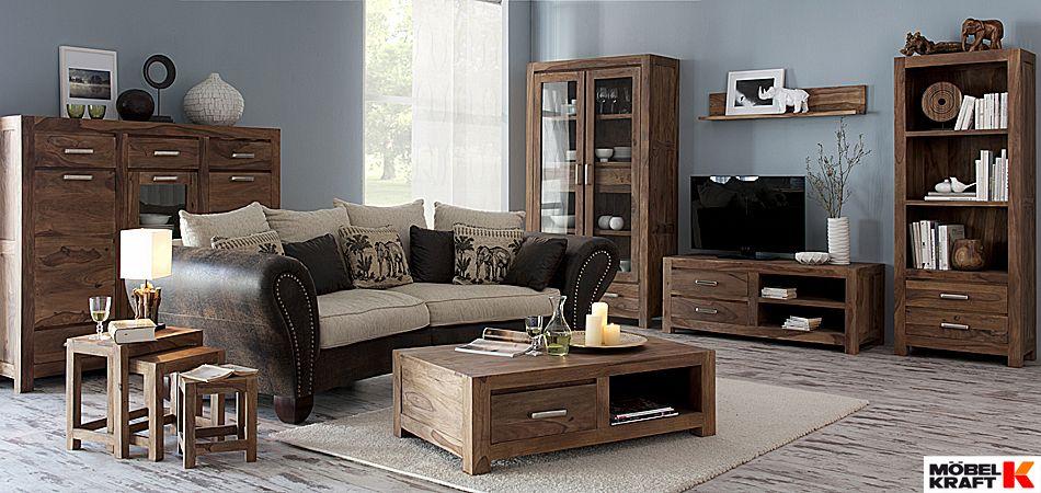 Rustikales Wohnzimmer im Industrie Look http://www.moebel-kraft.de ...