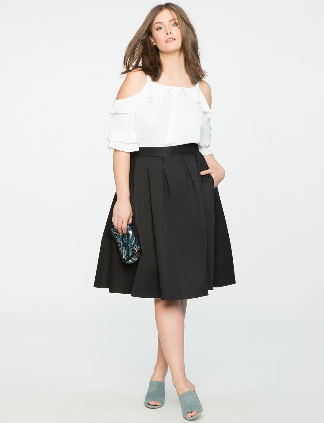 pleated midi skirt with pockets | women's plus size skirts