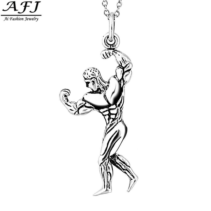 Sterlingsilver gym muscle body building modeling pendant necklace