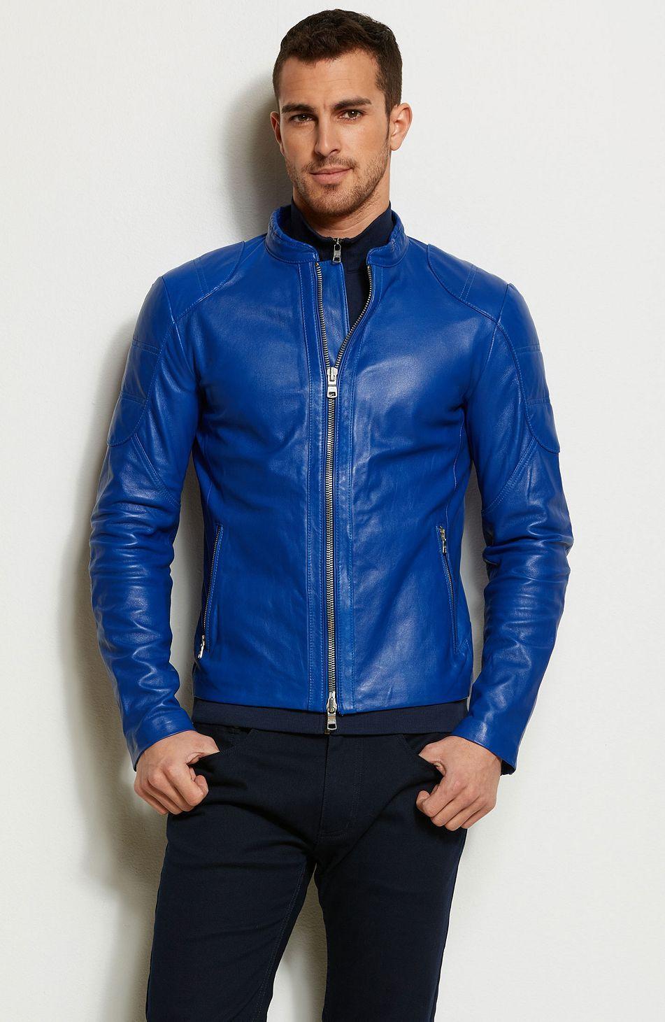 Pop Color Leather Moto Jacket - Jackets   Blazers - Mens - Armani Exchange   498 8784a4610fd
