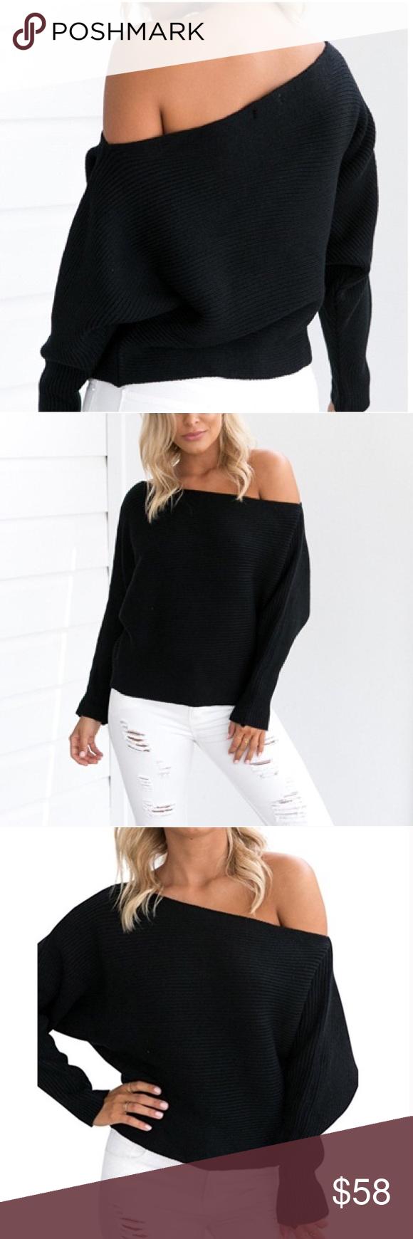7991563dda  Adelina  Black Off Shoulder Sweater Brand new. One size but best fits