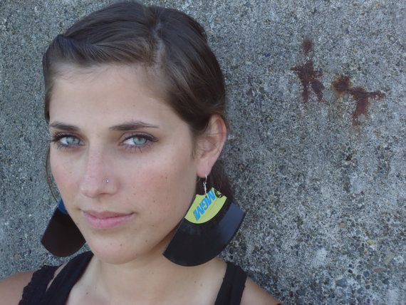 Recycled Art Record Earrings