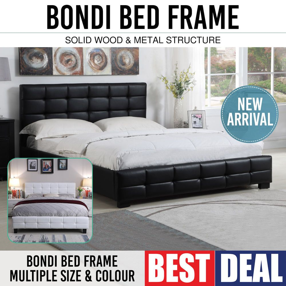 Details About Bed Frame Double Queen King Black White Pu
