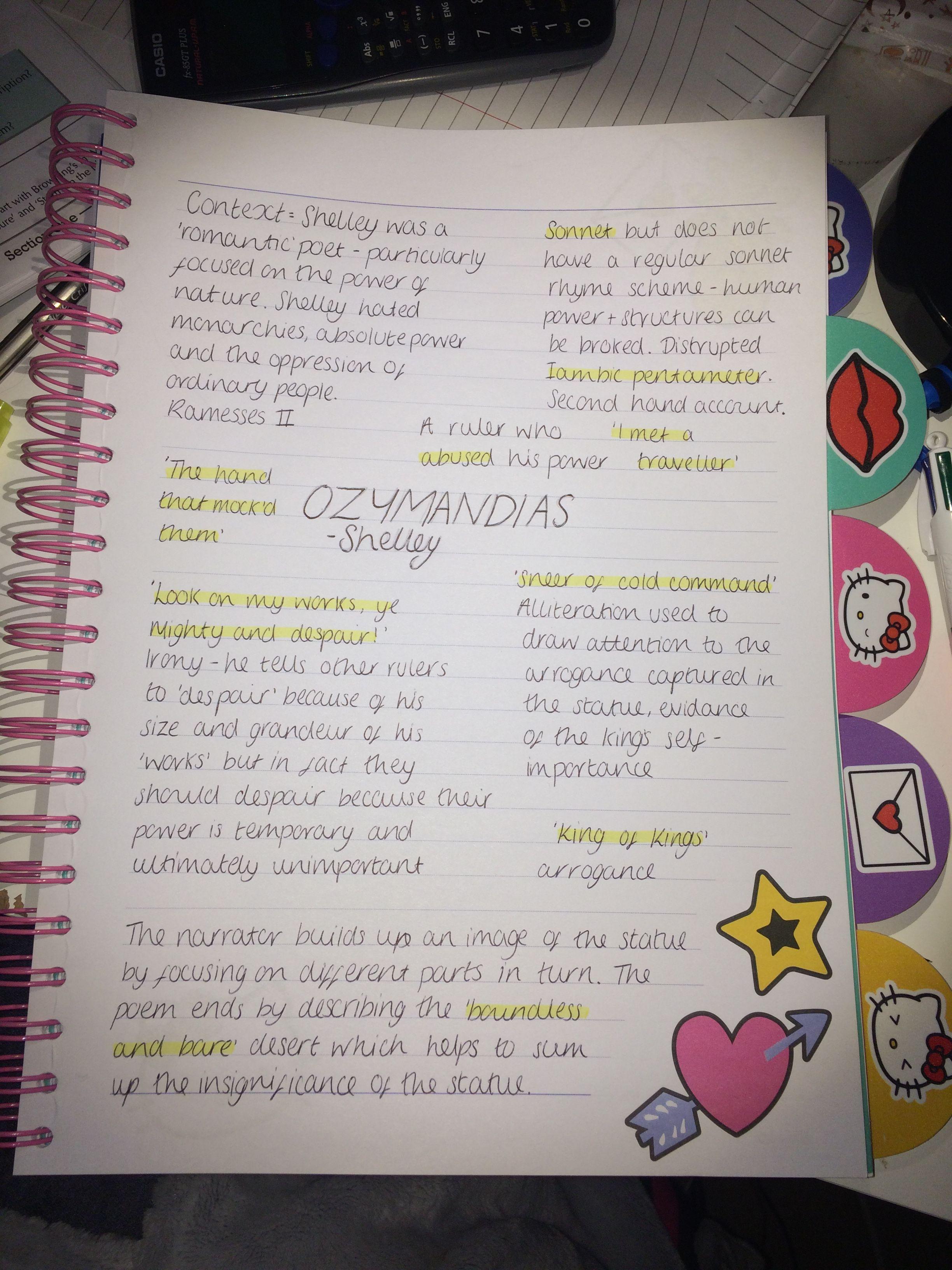 Gcse English Lit Revision Ozymandias Revision