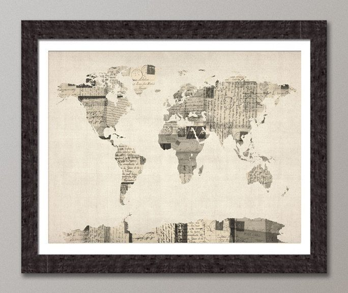 Map of the world map from old postcards art print 18x24 inch 896 map of the world map from old postcards art print 18x24 inch 896 gumiabroncs Image collections
