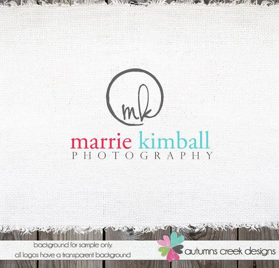 Custom Premade Photography Logo - Circle and Initials Logo and Watermark Design Name Text Logo