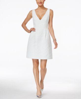 Betsey Johnson Sleeveless Jacquard Fit & Flare Dress | macys.com ...