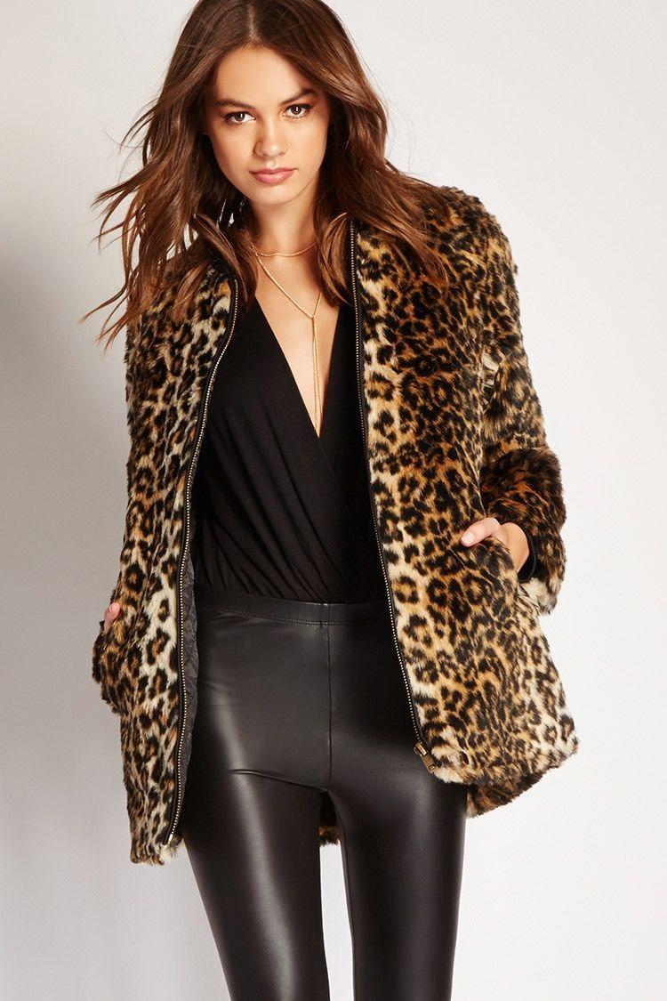 ca5facef2148 Leopard Print Faux Fur Jacket | Forever 21 - 2000214204 | lookbook ...