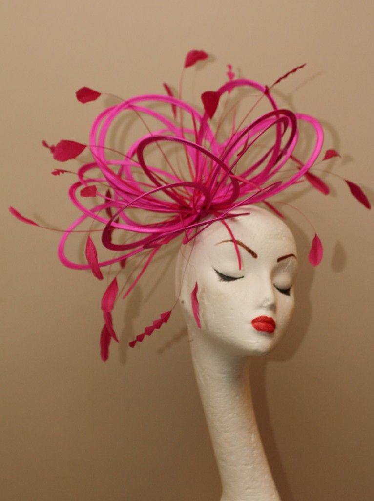 New Hot Pink satin loop feather Fascinator Hat choose in 30 more colours | eBay