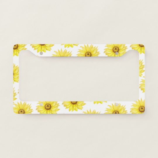 Sunflower On White License Plate Frame | Zazzle.com