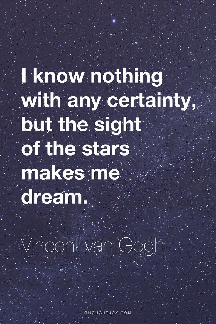Vincent Van Gogh Quotes Cool I Know Nothing With Any Certainty But The Sight Of The Stars Makes