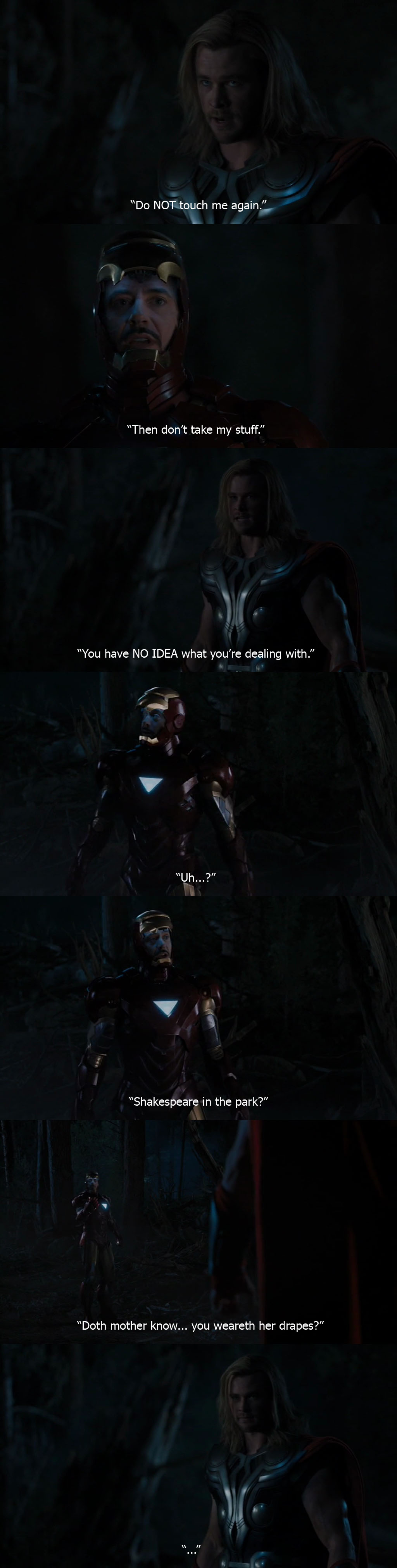 Doth Mother Know You Weareth Her Drapes Ironman Robert Downey Jr Thor Chris Hemsworth The Avengers Joss Whedon 2012
