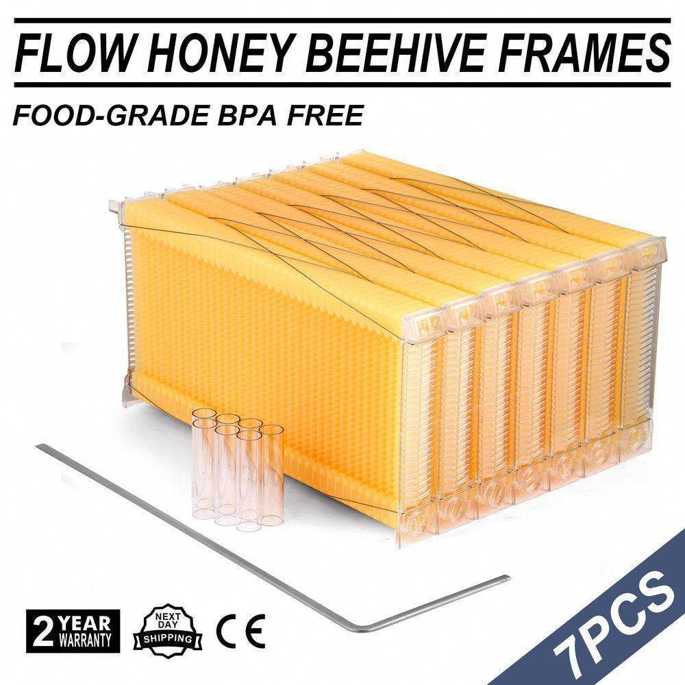 7Pcs Beehive Flowing Honey Beehive Frames Kit Raw Bee Hive Frames Beekeeping