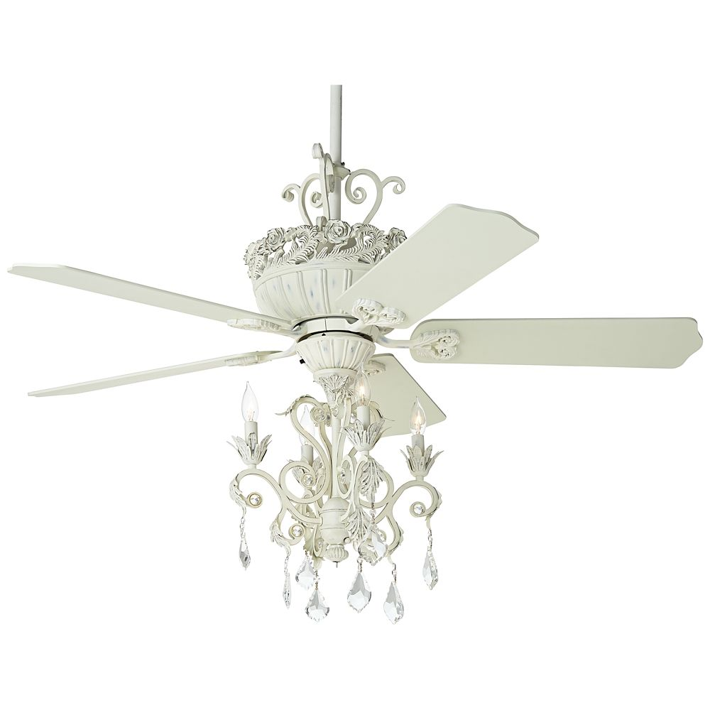 52 Casa Chic Rubbed White Chandelier Ceiling Fan Style 12277