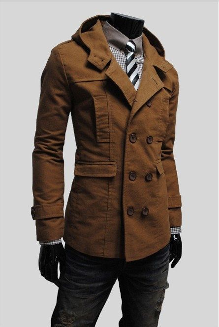 e5ca4b7e4df5 Mens Stylish Double Breasted Trench Coats Long Jackets Top Overcoat Peacoat  on Etsy