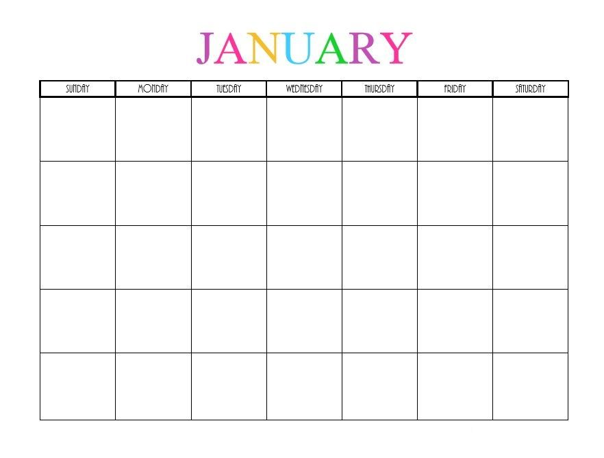 January  Calendar Colour  January  Calendar Colour