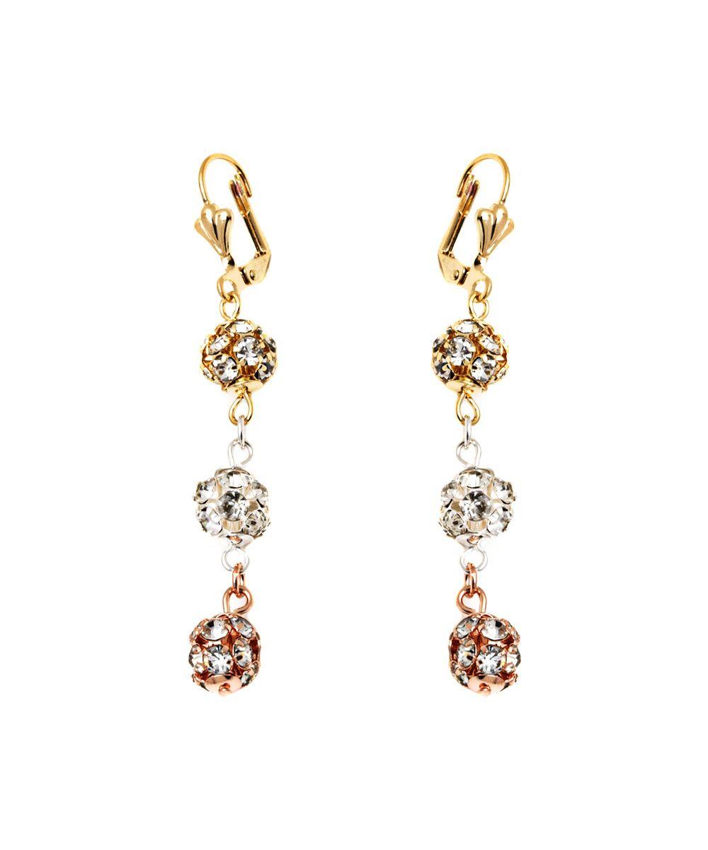 Crystal & Tri-Tone Disco Ball Drop Earrings
