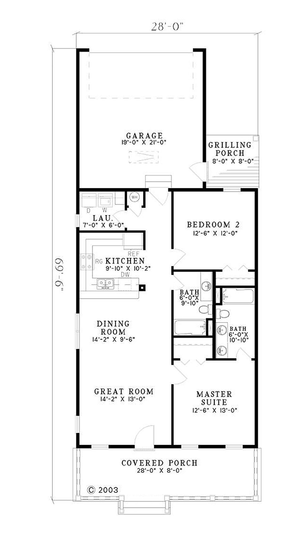 Southern style house plan 2 beds baths 1120 sq ft for Southern style floor plans