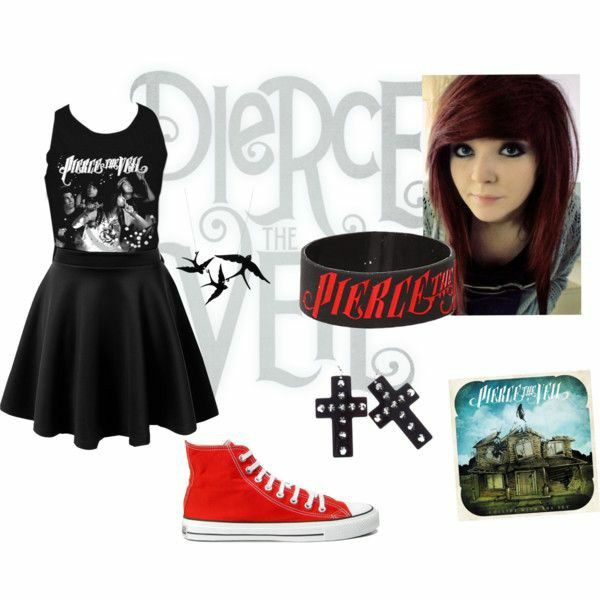 Want this cute scene/emo/gothic outfit  Pierce the veil
