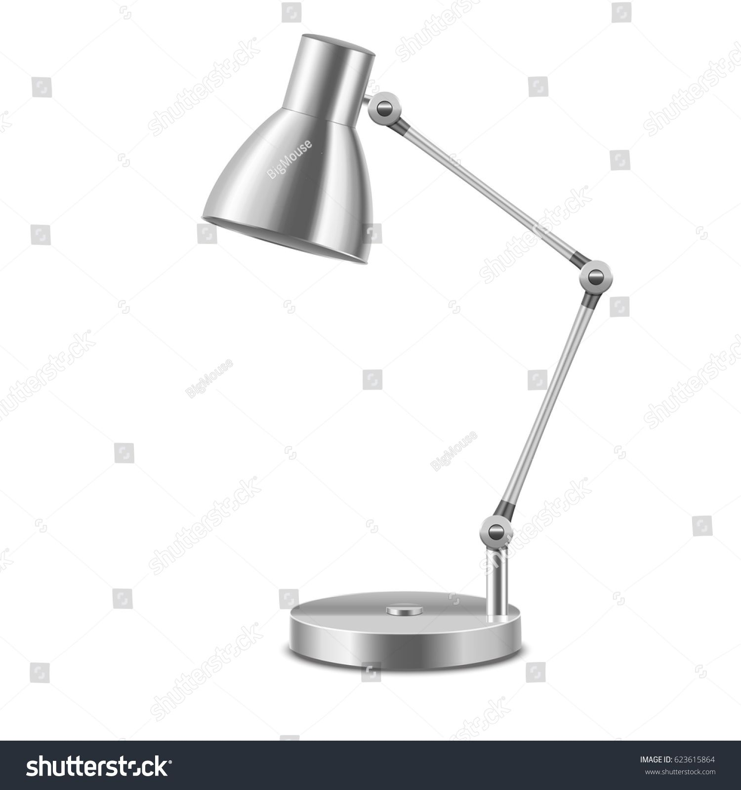 Realistic Template Blank Metal Table Lamp Illuminate Interior Office Or Home Isolated On A White Background Vector Illustrat Metal Table Lamps Table Lamp Lamp