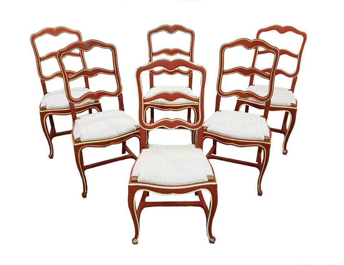 7bb2223878b Set of Six Unique Shabby Chic Early 1940s Vintage French Country Oak Ladder  back Dining Chairs