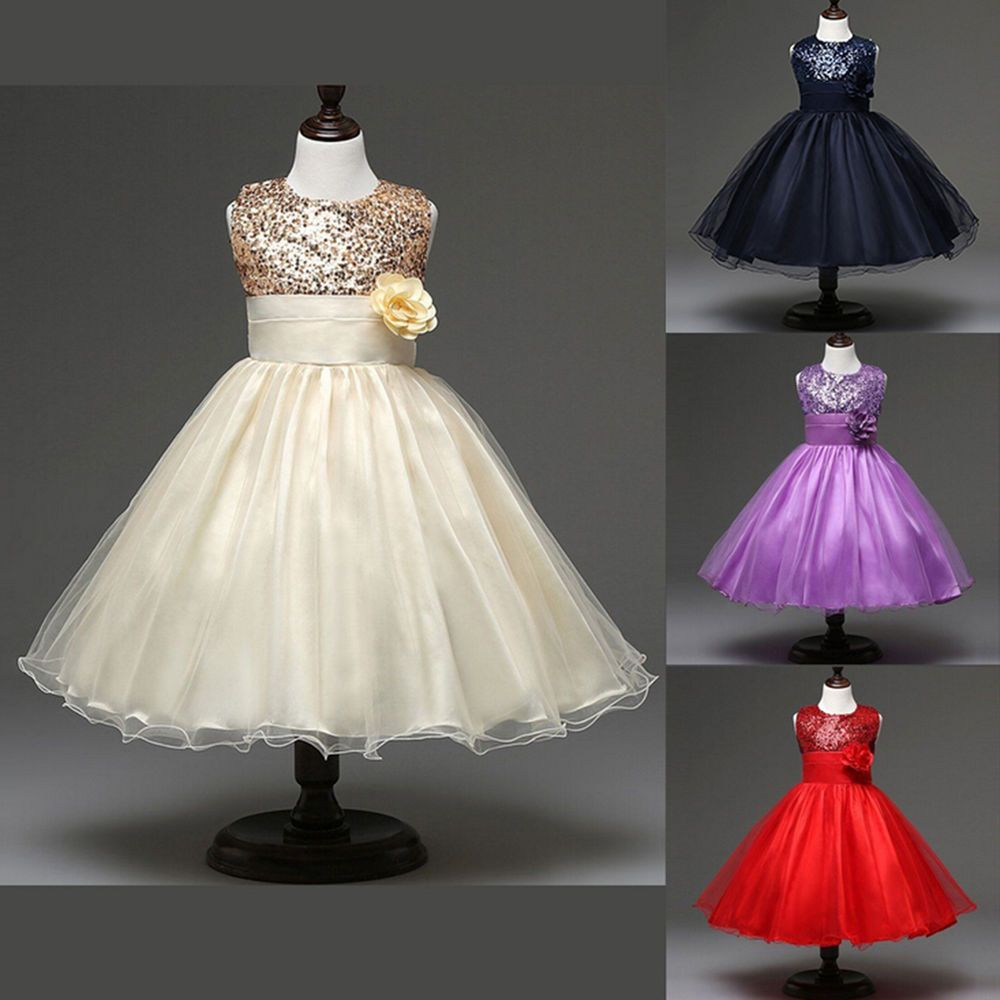 Dress for party wedding  Flower Girl Toddler Baby Sequins Princess Party Wedding Formal Tutu
