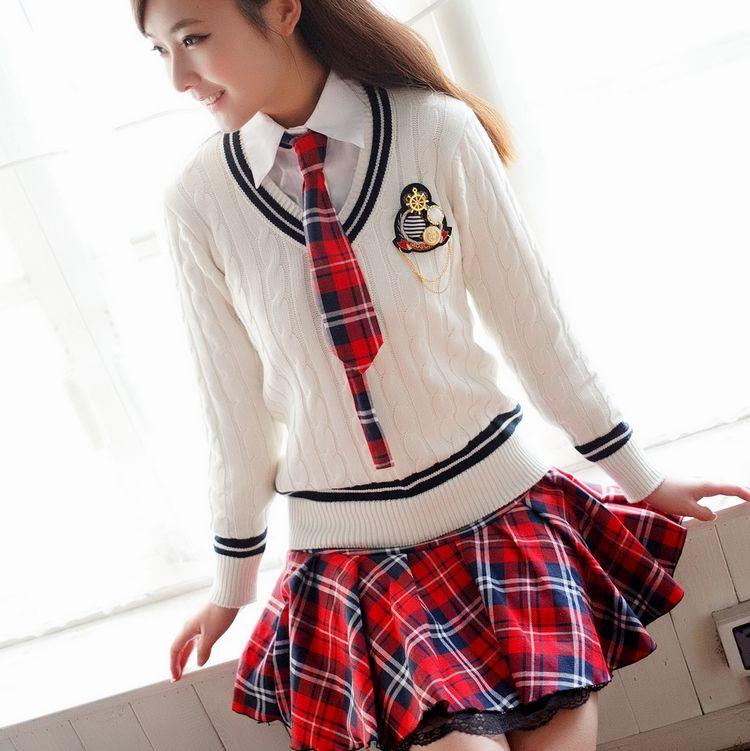 Top 013 estudiantes uniforme escolar conjunto suéter 100% camisa  LC54