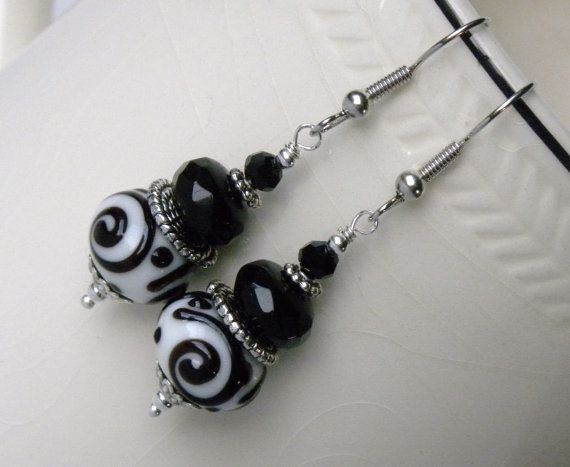 Black and White Lampwork Handmade Beaded by bdzzledbeadedjewelry, $12.00