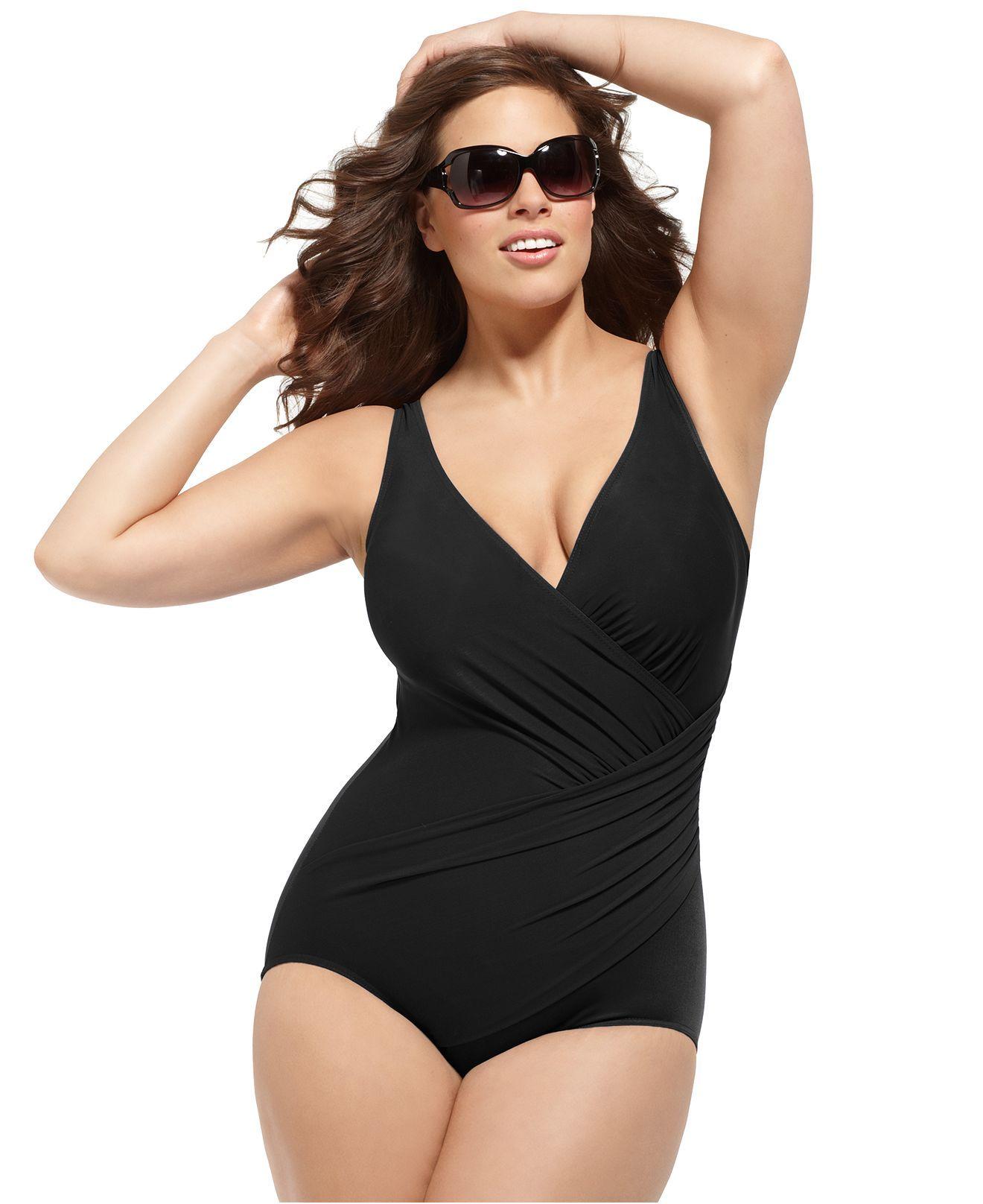 miraclesuit plus size swimsuit, oceanus tummy-control one-piece