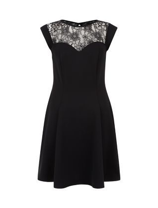 Black Scuba Lace Panel Skater Dress New Look Evening Dresses