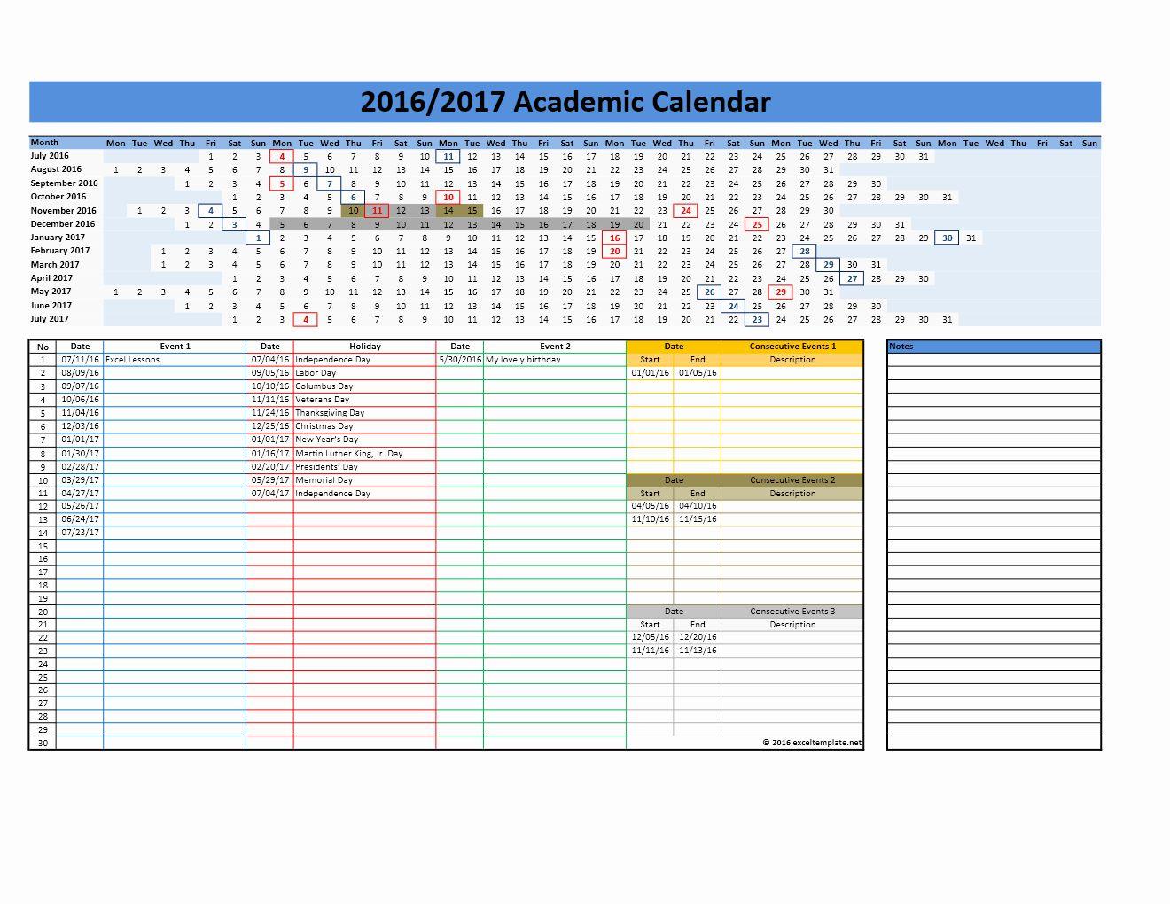 Calendar Template 2016 2017 Best Of 2017 2018 And 2016 2017 School Calendar Templates In 2020 Calendar Template Monthly Calendar Template School Calendar
