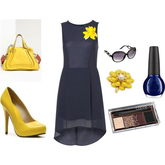Navy dress, yellow pumps, who would have thought they could work like this?