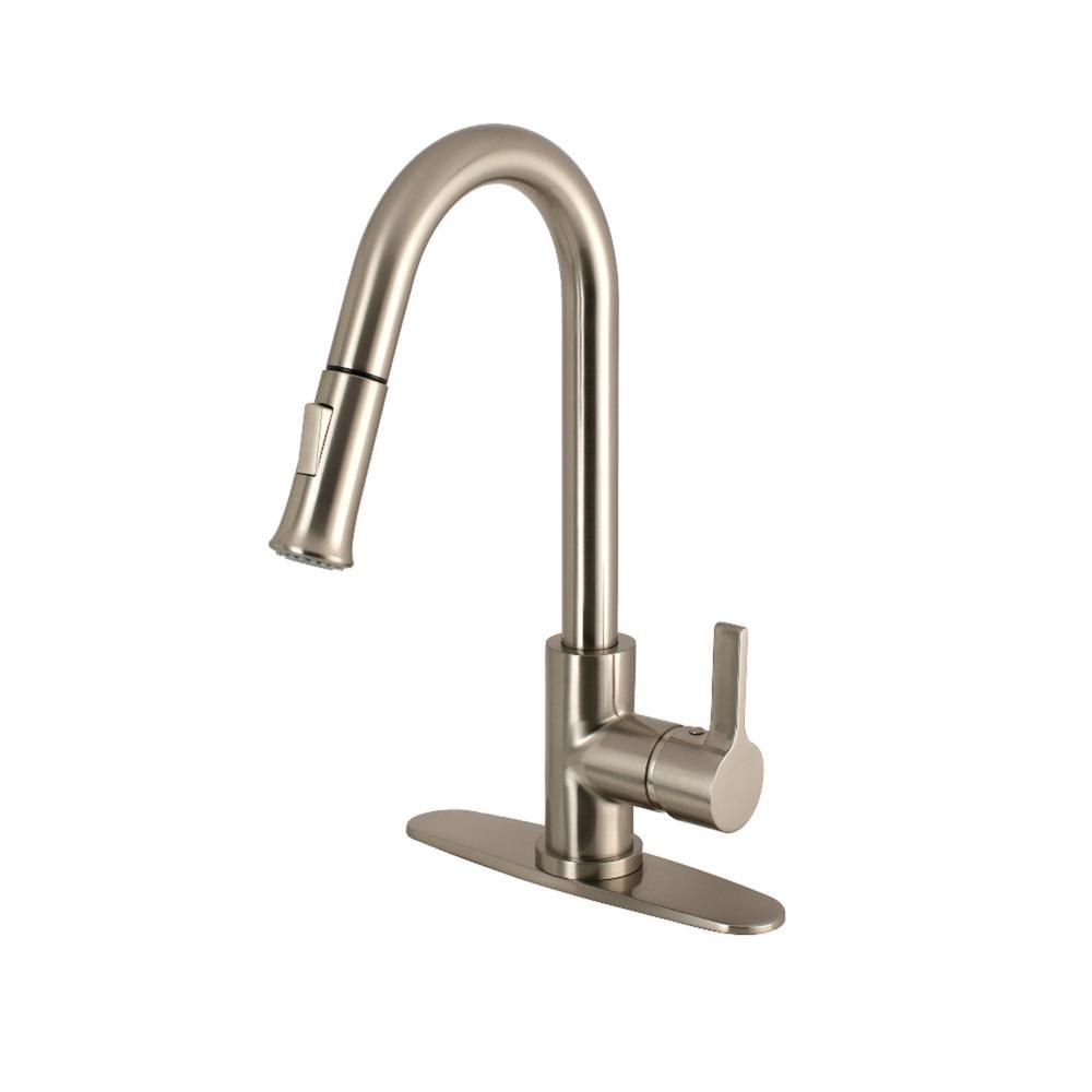 Kingston Brass Modern Single Handle Pull Down Sprayer Kitchen