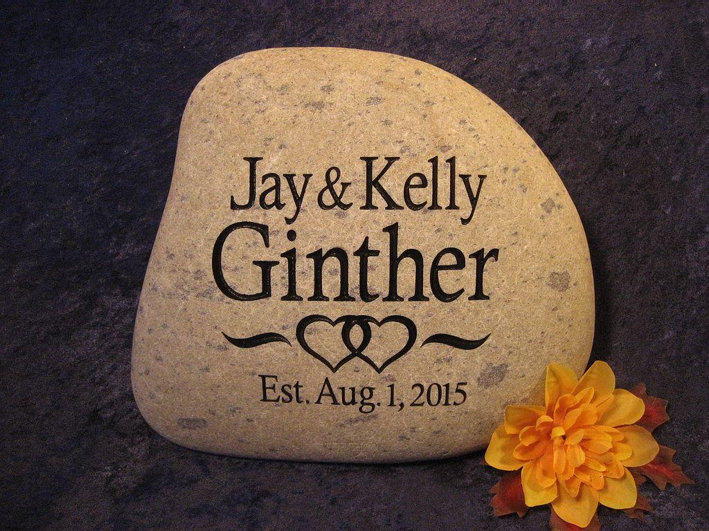 wedding engraved stones, personalized wedding stone, anniversary ...