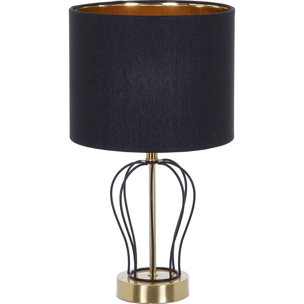 Black & Gold Tone Wavy Wire Table Lamp 43x23cm Lighting