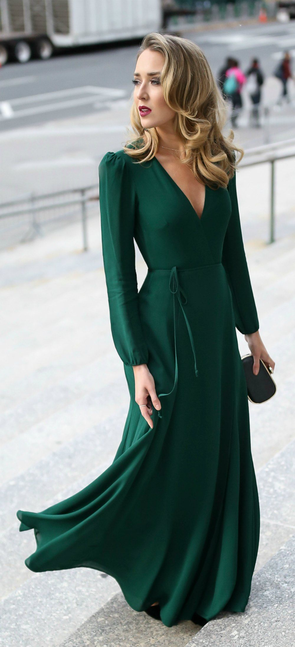 Good 30 DRESSES IN 30 DAYS: Black Tie Wedding Guest // Emerald Green Long Sleeve  Floor Length Wrap Dress, Black And Gold Geometric Pattern Evening Clutch,  ...