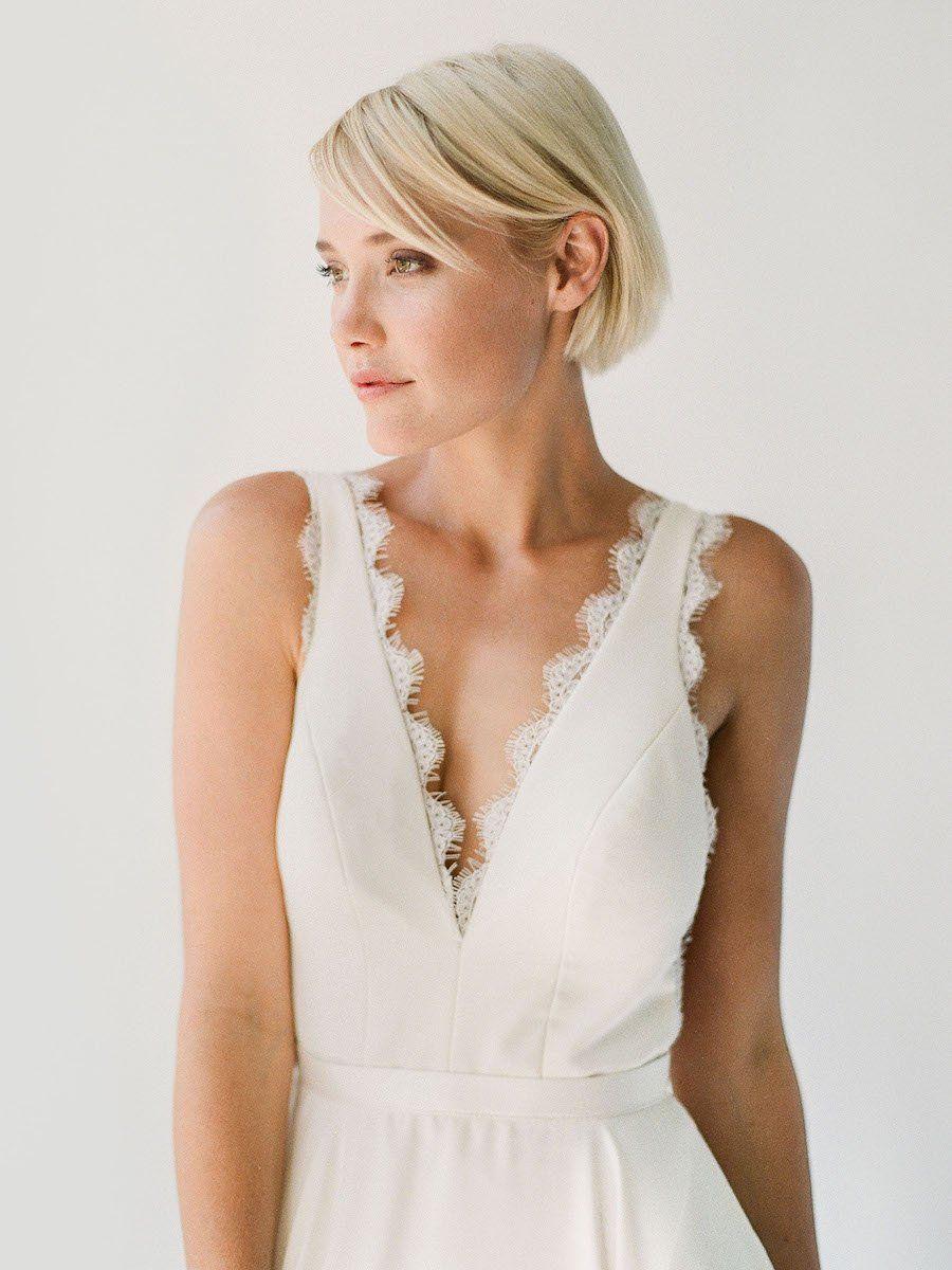 Bea wedding dress with pockets white straight skirt