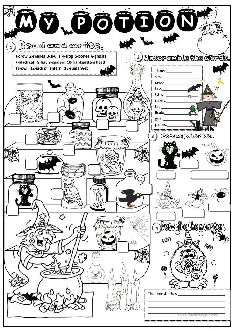 Halloween English Esl Worksheets Halloween Worksheets Kindergarten Worksheets Kindergarten Worksheets Printable [ 1079 x 763 Pixel ]