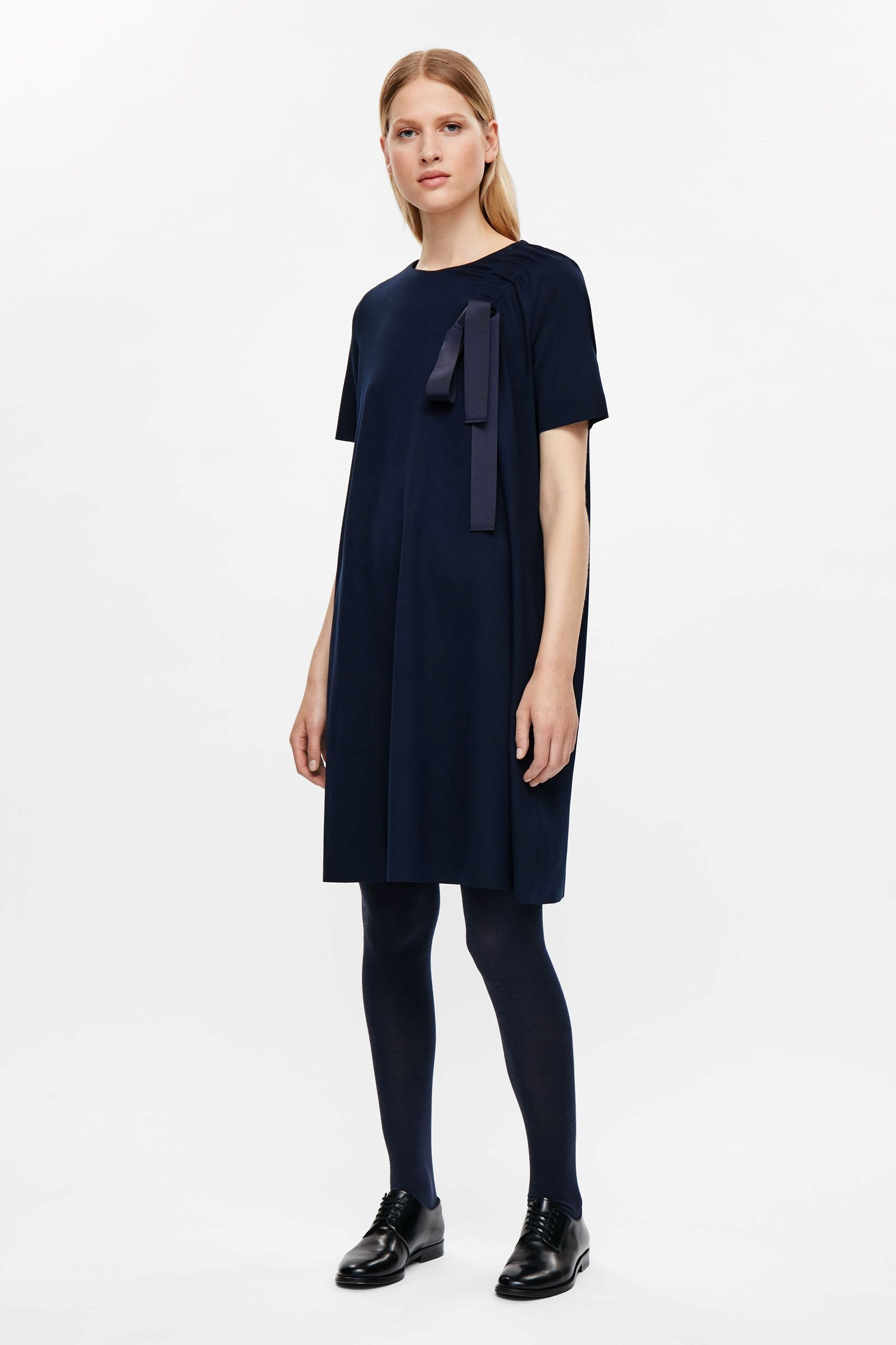COS image 1 of Dress with drawstring detail in Navy | clothes ...