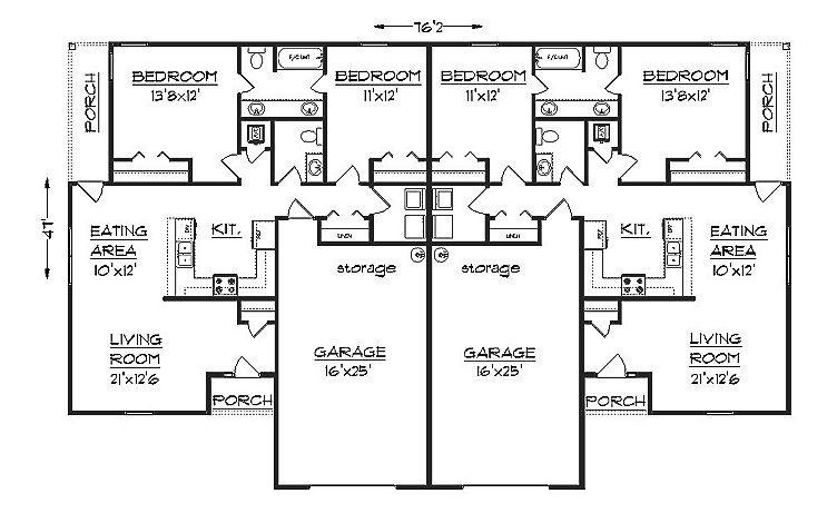 Duplex house plan S1038d
